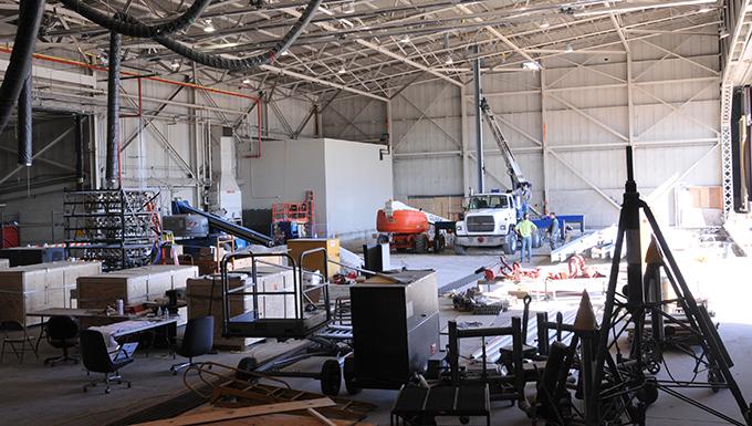Photo of hangar under construciton